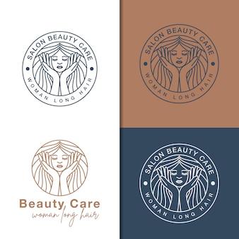 Line art schoonheidsverzorging logo's
