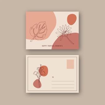 Line art tropische briefkaart ontwerp met bloemen en bladeren hand getekende illustratie.