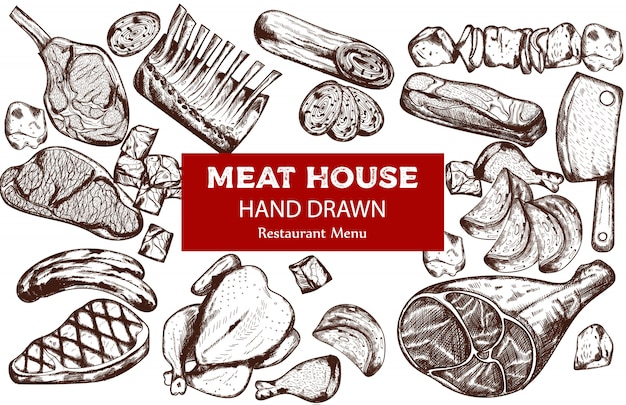 Line art vlees set met worst, biefstuk, varkensribbetjes en slagersmes