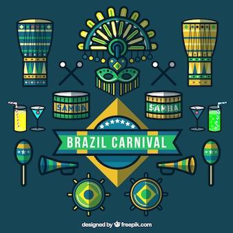 Line carnaval elementen pakken