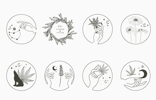 Line-objectcollectie met hand, cannabis, lavendel, zonnebloem, maan