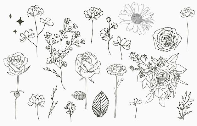 Line-objectcollectie met hand, magnolia, roos, lavendel, jasmijn, blad, bloem, zonnebloem