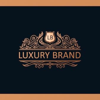 Lineair kalligrafisch logo-sjabloon royal luxury-ontwerp