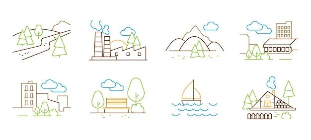 Lineair landschap. boom heuvels wolken huizen park dunne lijn vectorillustraties. panorama uitzicht heuvels en bergen, contour gebouw omtrek