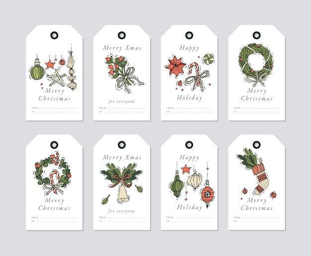 Lineair ontwerp kerstgroeten elementen