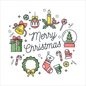 Lineair ontwerp kerstkaart op witte achtergrond.