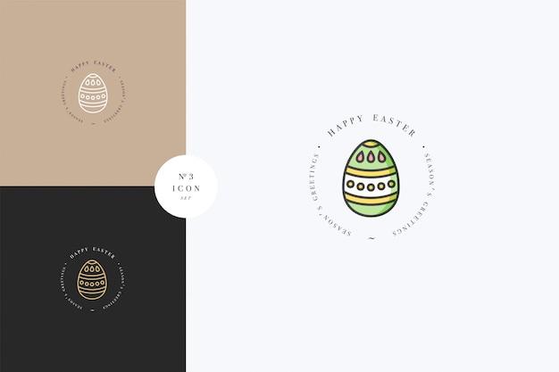 Lineair ontwerp pasen groeten elementen. vrolijk pasen typografie ingesteld pictogram. lente vakantie ontwerpelementen.