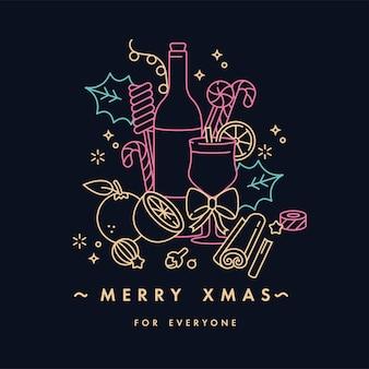 Lineair ontwerp voor neonkleur van de kerstgroetkaart. typografie en pictogram voor xmas-achtergrond, banners of posters en andere printables. glühwein concept.
