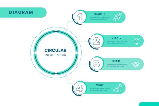 Lineair plat cirkeldiagram infographic Gratis Vector