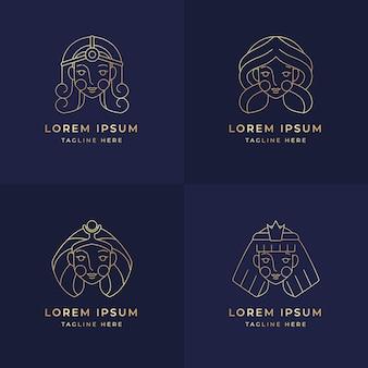 Lineair plat godin-logopakket