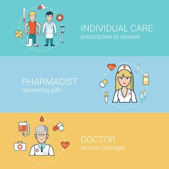 Lineair plat medisch personeel, gezondheidszorgconcepten ingesteld. arts met patiënt op krukken, verpleegkundige, professionele hulp van apotheker