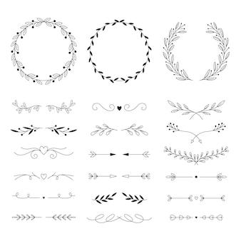 Lineair plat ontwerp bruiloft ornament pack