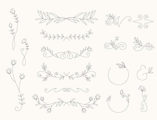 Lineair plat ontwerp bruiloft ornamenten
