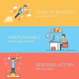 Lineair plat opstarten van bedrijven, onvervangbaar personeel, succesconcepten ingesteld. zakenman vliegende jetpack, werknemer op de werkplek, winnaar op voetstuk