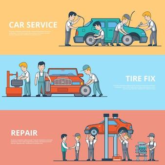 Lineair plat technische auto diagnostische, ontmanteling en reparatie serviceconcepten set van websiteheld-afbeeldingen. bandenreparatie, motor- en batterijtest. mechanische werknemers tevreden klantkarakters