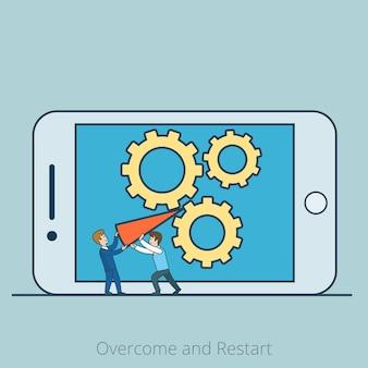 Lineair plat twee micro-zakenlieden blokkeerden tandwielen door een rode pijl op het smartphonescherm. overwinnen en zakelijk herstartconcept.