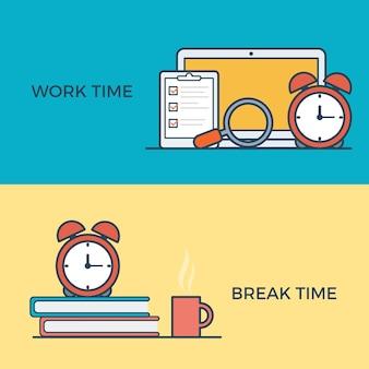 Lineair plat werk en pauzetijdbeheer infographics sjabloon website banner iconen vector illustr