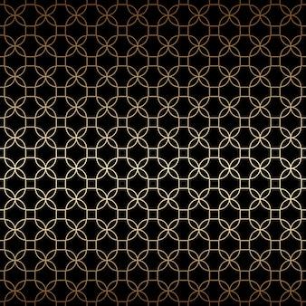 Lineair zwart en goud geometrisch naadloos patroon met gestileerde bloemen, art decostijl