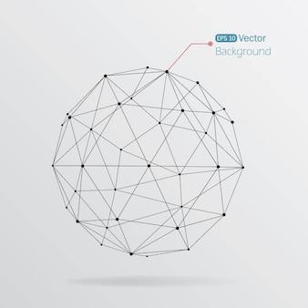 Lineaire achtergrond met een geometrische bol