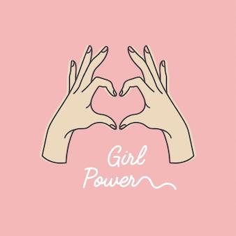 Lineaire afbeelding van vrouwelijke handen tonen hart silhouet. hart vorm. conceptenillustratie van meisjesmacht en vrouwen motiverende slogan.