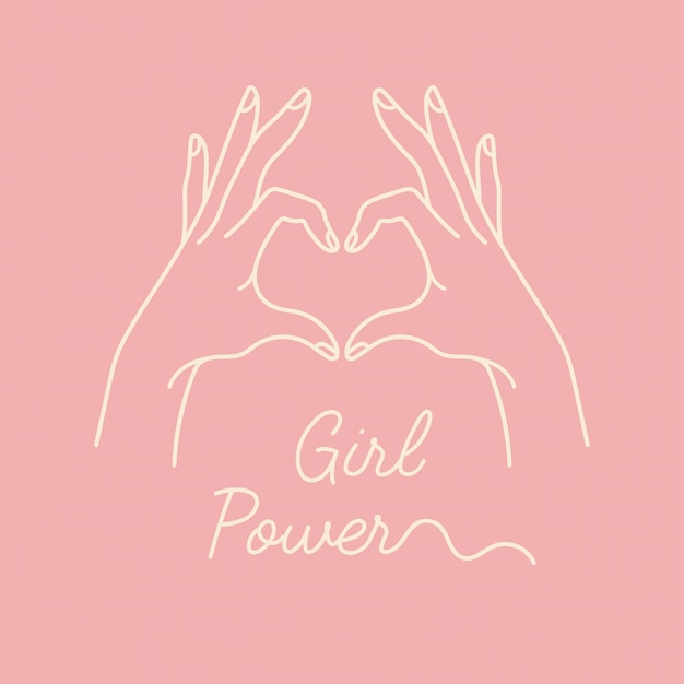 Lineaire afbeelding van vrouwelijke handen tonen hartsilhouet. hart vorm. conceptenillustratie van meisjesmacht en vrouwen motievenlogan.