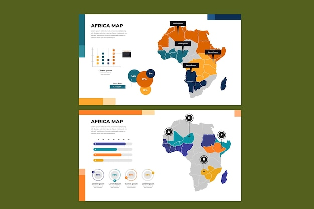 Lineaire afrika kaart infographic