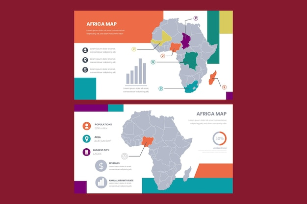 Lineaire afrika kaart infographic