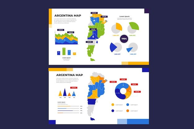 Lineaire argentinië kaart infographic