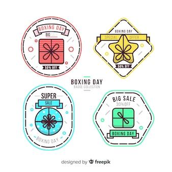Lineaire badge boxing-dag verkoopcollectie