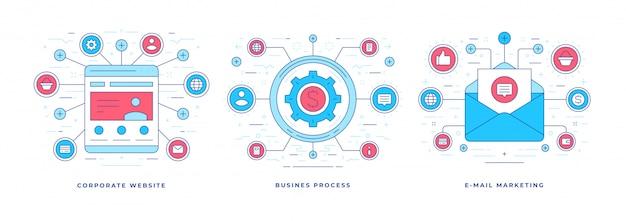 Lineaire banner online-oplossingen voor succesvolle zakelijke marketing