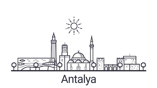 Lineaire banner van de stad antalya. alle gebouwen in antalya - aanpasbare objecten met een dekkingsmasker, zodat u eenvoudig de compositie en achtergrondvulling kunt wijzigen. lijn kunst.