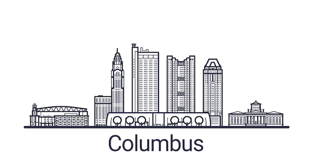 Lineaire banner van de stad columbus. alle gebouwen - aanpasbare verschillende objecten met uitknipmasker, zodat u de achtergrond en compositie kunt wijzigen. lijn kunst.