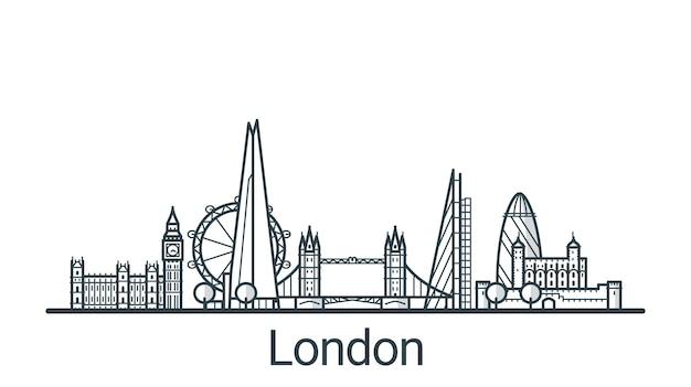 Lineaire banner van de stad londen. alle gebouwen - aanpasbare verschillende objecten met achtergrondvulling, zodat u de compositie voor uw project kunt wijzigen. lijn kunst.