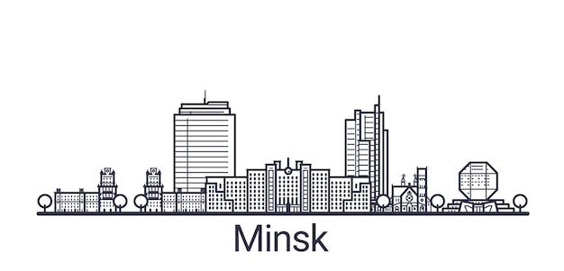 Lineaire banner van de stad minsk. alle gebouwen van minsk zijn art.
