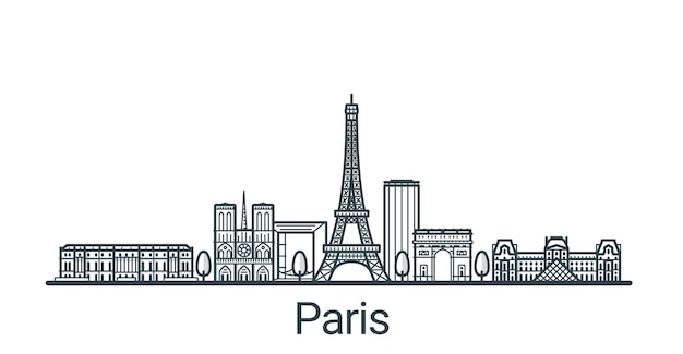 Lineaire banner van de stad parijs. alle gebouwen