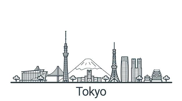 Lineaire banner van de stad tokio in de hand getekend