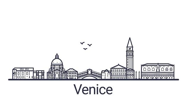 Lineaire banner van de stad van venetië in de hand getekend