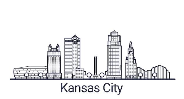 Lineaire banner van kansas city. alle gebouwen