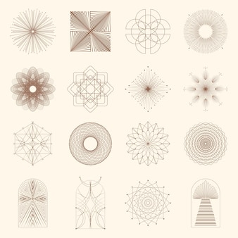 Lineaire boho pictogrammen en symbolen zon logo ontwerpsjablonen abstracte ontwerpelementen voor decoratie