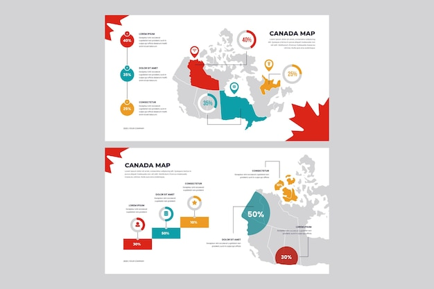 Lineaire canada kaart infographic