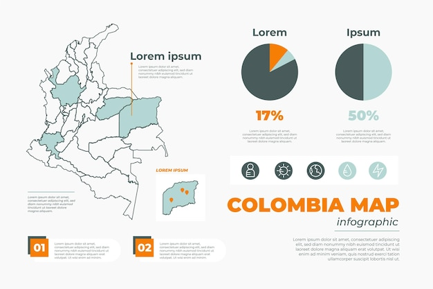 Lineaire colombia kaart infographic