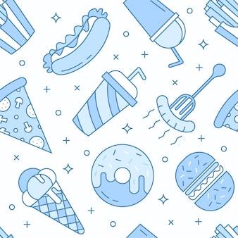 Lineaire flat fastfood pictogrammen naadloze patroon.
