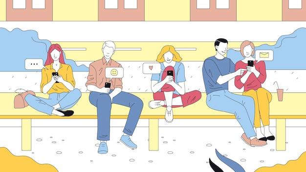 Lineaire groep mensen met overzicht met behulp van hun smartphones. sociale netwerkgebruikers concept art. vector illustratie, cartoon vlakke stijl. vijf mannelijke en vrouwelijke personages glimlachen. telefoons met meldingen.