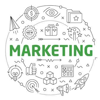 Lineaire illustratie voor presentaties in de ronde marketing