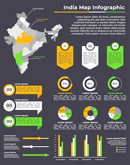 Lineaire india kaart infographic sjabloon