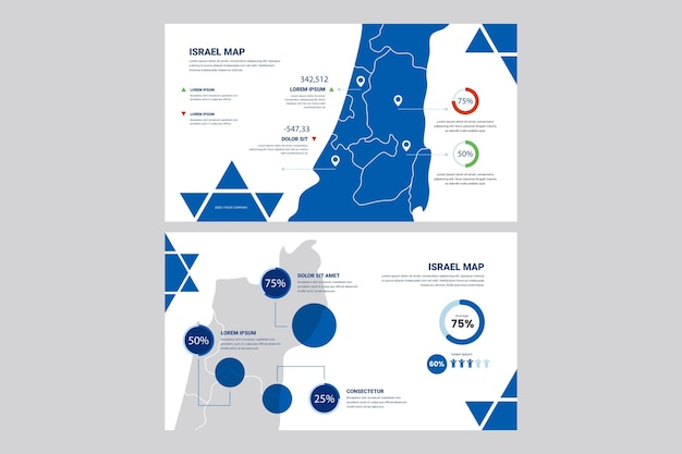 Lineaire infographic kaart van israël