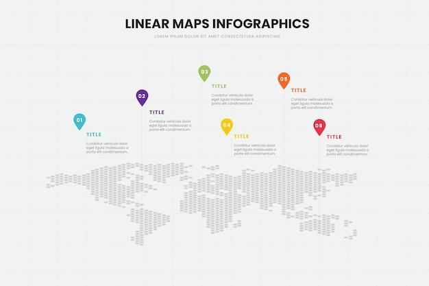 Lineaire kaarten infographics sjabloon