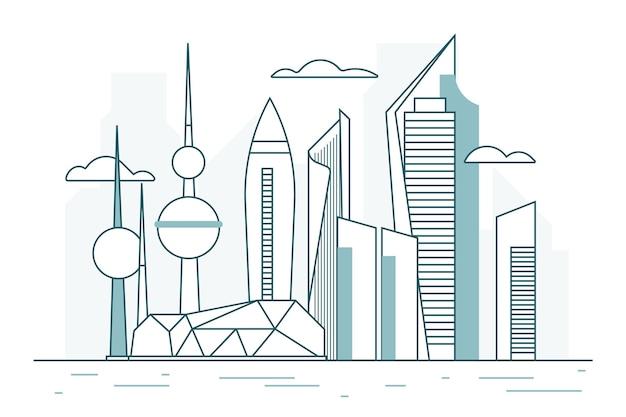Lineaire koeweit skyline illustratie