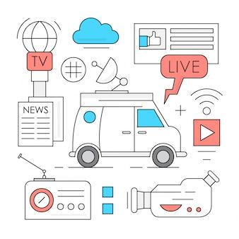 Lineaire massamedia en broadcasting icons