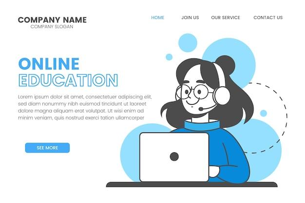 Lineaire online bestemmingspagina-sjabloon voor leren